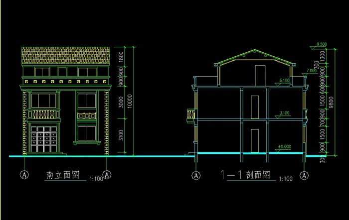 中式乡村别墅设计cad方案图