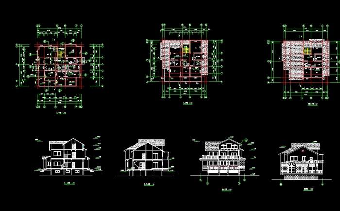 三层小别墅设计cad方案图纸[原创]
