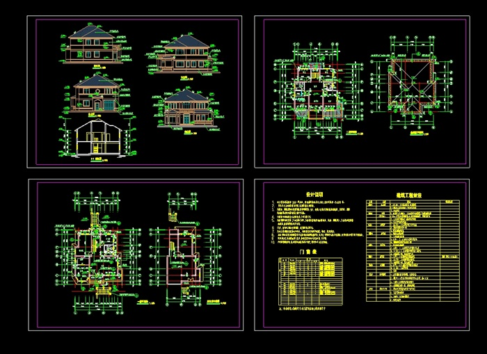 某欧式详细的全套别墅设计cad施工图