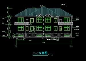 市德山旅游度区乡村别墅楼设计cad施工图-设计素材下载