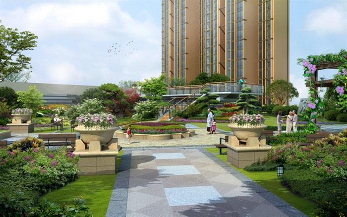 欧式花园住宅小区景观设计效果图psd格式[原创]