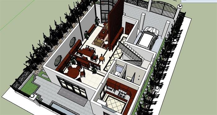 加富花园中式别墅建筑及室内空间设计su模型[原创]