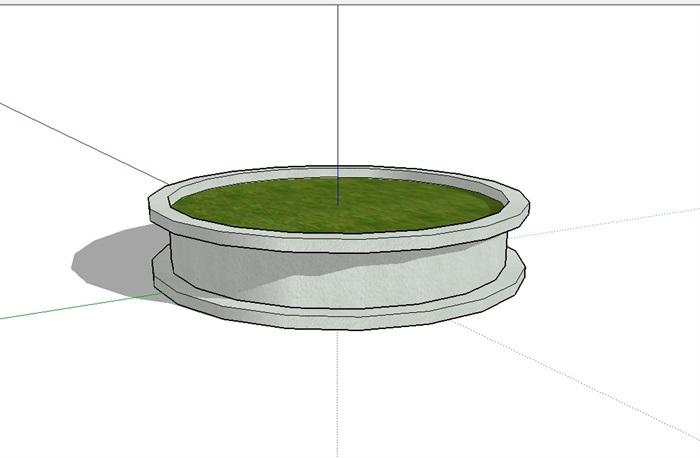 圆形详细的树池设计su模型[原创]
