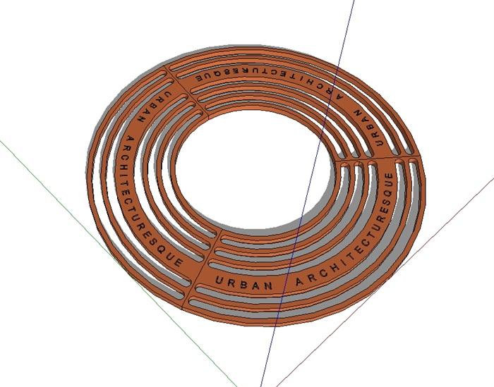圆形详细的树池盖板设计su模型[原创]