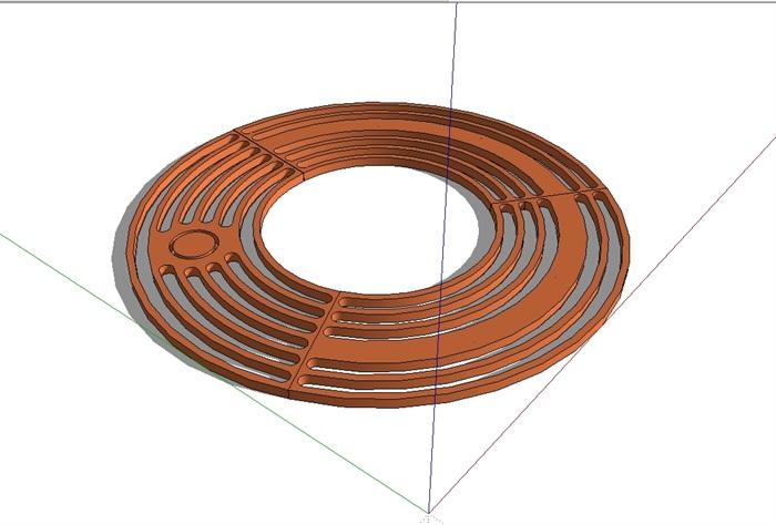 圆形详细树池盖板设计su模型[原创]