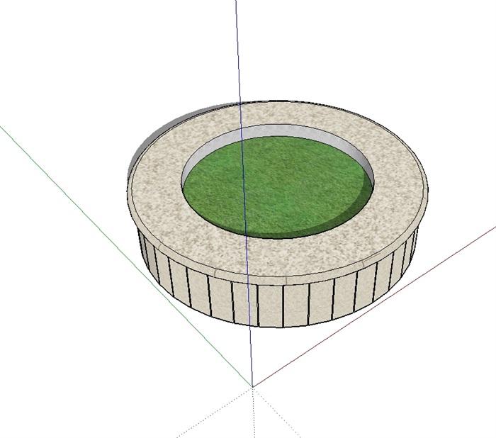 圆形园林景观详细树池su模型[原创]