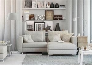 现代室内空间客厅设计3d模型