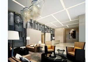 现代独特的客厅设计3d模型