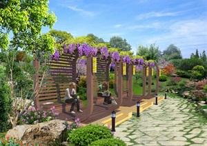 室外环境设计廊架设计PSD效果图