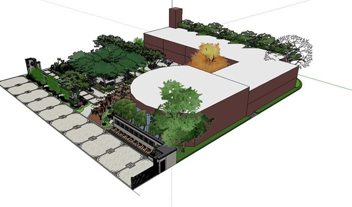中式风格小区售楼处景观设计su模型[原创]