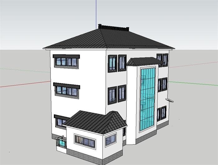 中式小别墅干部处理su房子模型秦岭违建设计陕西别墅图片