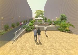 室外环境设计景观通道台阶设计效果图PSD成套