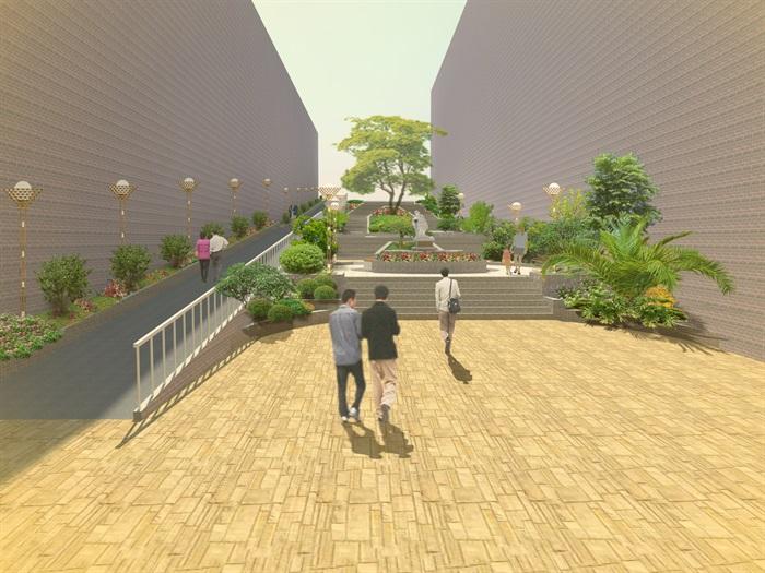室外环境设计景观通道台阶设计效果图psd成套[原创]