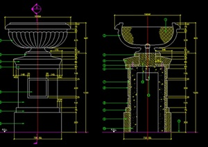花钵柱设计施工图