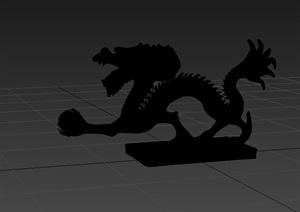 古典中式龙雕塑设计3d模型