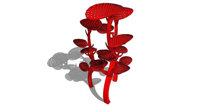 花,热带鱼,火焰雕塑su模型[原创]