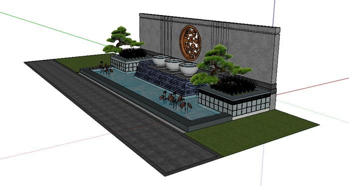 中式详细的水景墙设计su模型[原创]