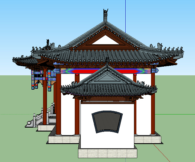 某古典中式风格景观长廊设计su模型[原创]