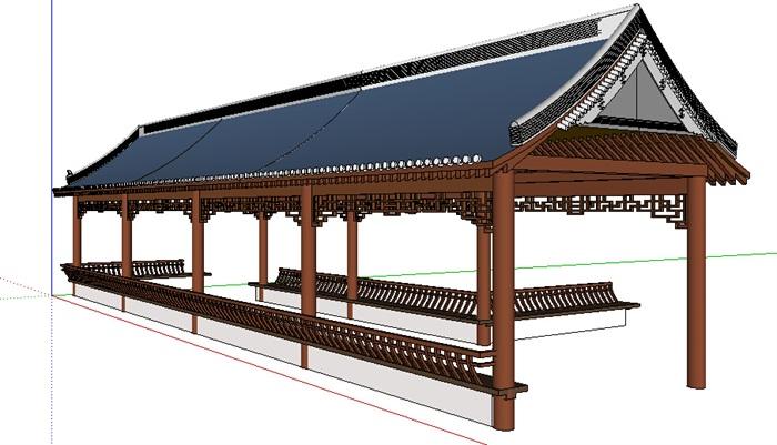 中式风格景观长廊素材su模型[原创]
