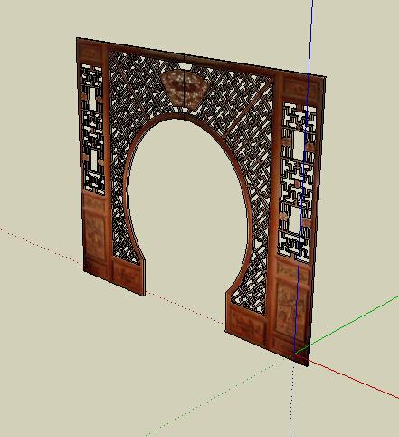 中式木制镂空隔断月亮门su模型[原创]