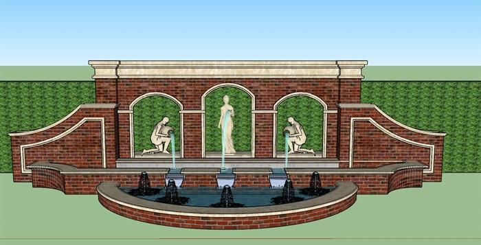 欧式红砖人物雕塑景墙水景su模型[原创]