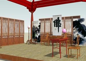 古典中式客厅独特SU(草图大师)模型
