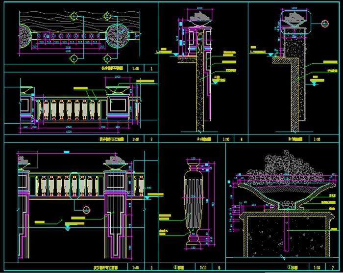 带详图栏杆设计cad施工花盆[原创]牙科诊所cad素材图片