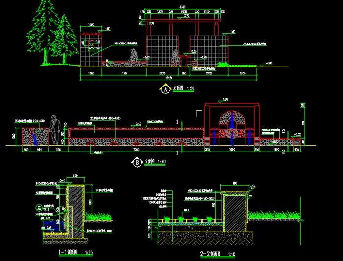小区水景墙详细设计cad施工图