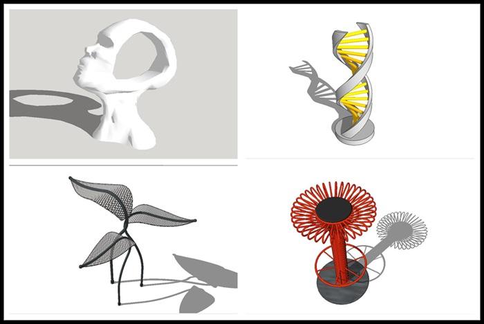 多款现代抽象艺术雕塑SU模型