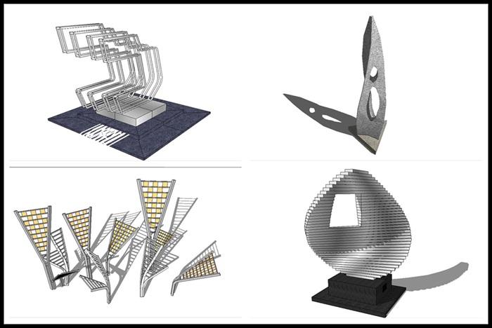 现代抽象艺术雕塑SU模型