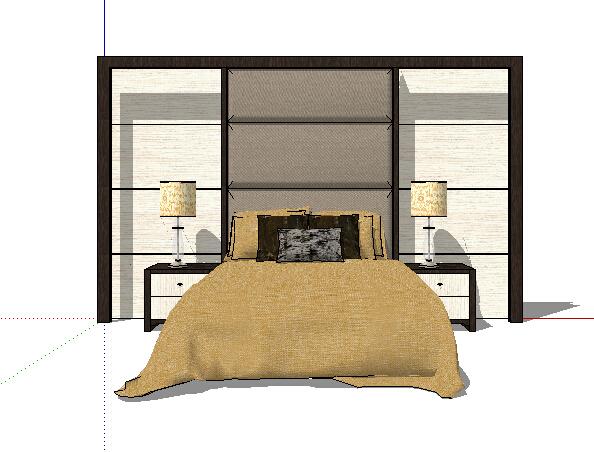 某现代室内详细床及床头板设计su模型[原创]