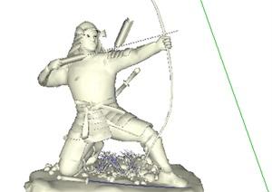 射箭人物雕塑SU(草图大师)模型