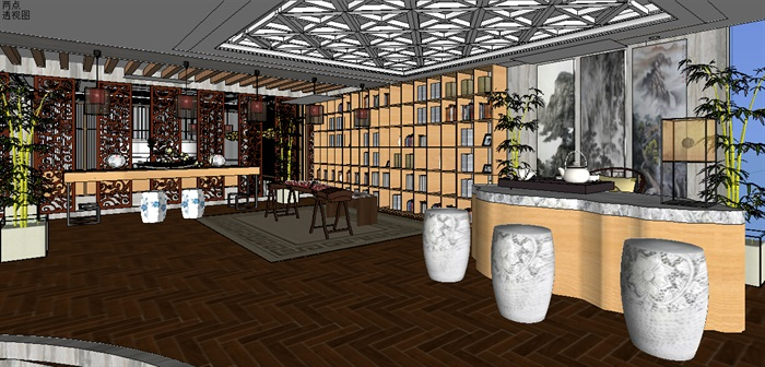 现代中式餐饮空间详细v餐饮3d模型[原创]手把手教你读财图片