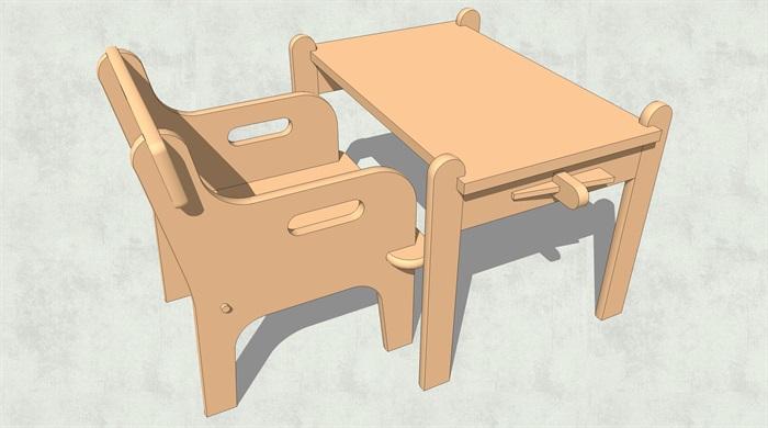 儿童幼儿座椅桌子设计su模型[原创]