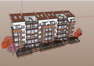 某欧式详细住宅小区楼SU(草图大师)模型-设计素材下载