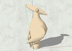 抽象猫头鹰雕塑设计SU(草图大师)模型