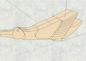 抽象鸟雕塑设计SU(草图大师)模型