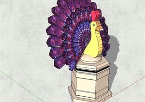 孔雀动物雕塑设计SU(草图大师)模型
