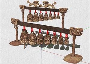 古典中式编钟素材设计SU(草图大师)模型