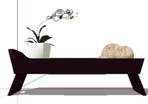 现代花架及盆栽设计SU(草图大师)模型