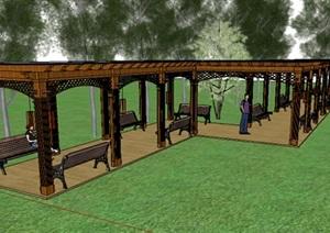 木质详细长廊架设计SU(草图大师)模型