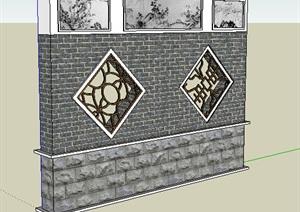 中式经典详细景墙设计SU(草图大师)模型