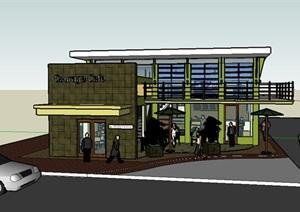 现代咖啡馆建筑设计SU(草图大师)模型