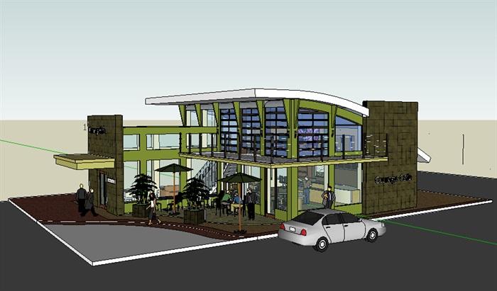 现代咖啡馆建筑设计su模型[原创]