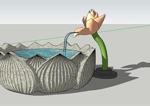 水钵雕塑素材设计SU(草图大师)模型