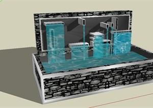 跌水景墙水池设计SU(草图大师)模型