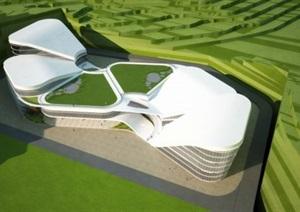 现代会展中心SU建筑方案模型
