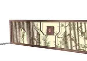 四组新中式景墙SU模型