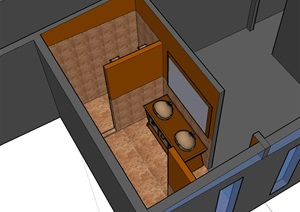 现代室内卫生间空间设计SU(草图大师)模型