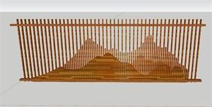 中式山体木栅景墙
